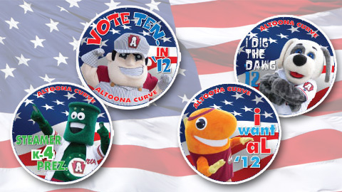 Altoona will give away buttons of its mascots for an eventual election promotion.